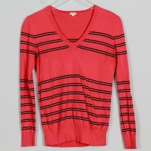J Crew Stripe Cotton V Neck Sweater L/S Coral Pink